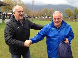 De Antoni premiato dal presidente della Figc regionale  Toffoletto